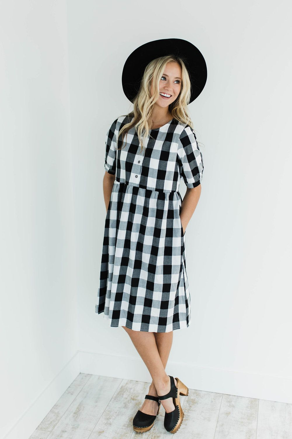 Black White Medium Plaid Dress Functional Button Up Front 1 2 Sleeves Button Cuff Gathered Babydoll Waist Hi Cute Spring Outfits Plaid Dress Sunday Outfits