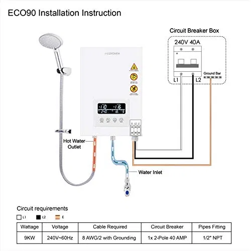 Tankless Water Heater Electric Ecotouch 9kw 240v On Demand Water Heater Watersbe On Demand Water Heater Tankless Water Heater Tankless Water Heater Electric