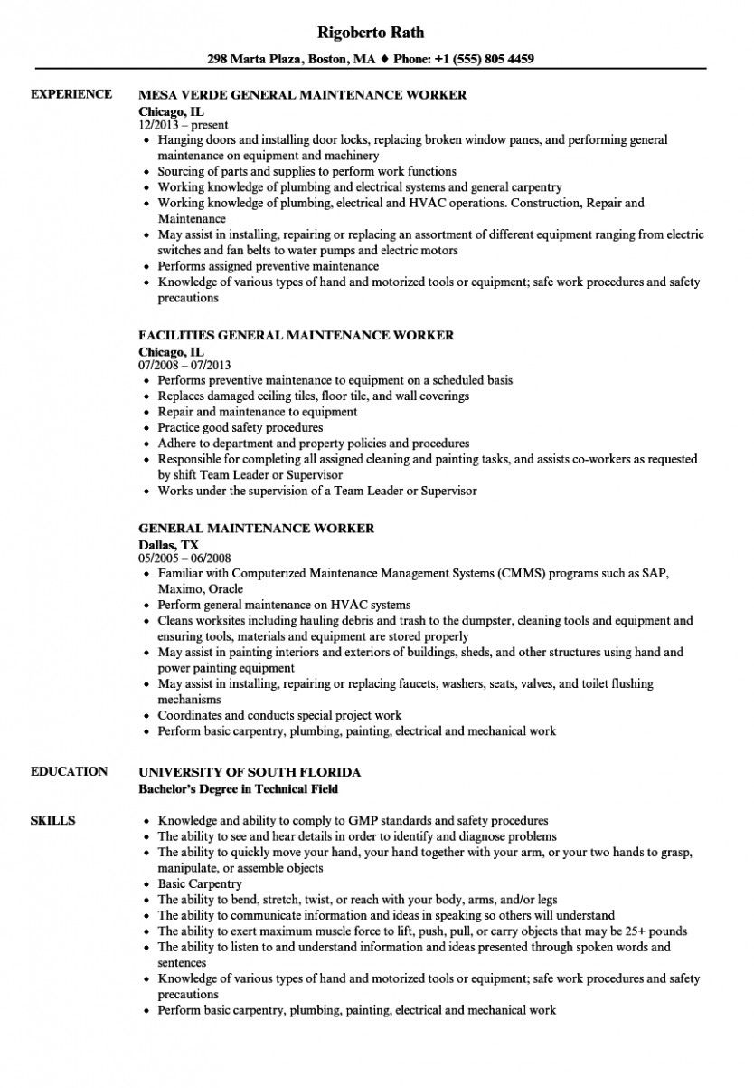 10 Primary Upkeep Resume in 2020 Resume, Civil engineer