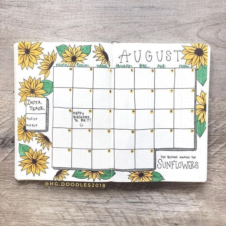 Who is still digging the sunflowers? . I adore this calendar spread by @hg.doodles2018! Never going to be sick of sunflowers - they're just…