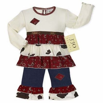 d8c5cf118 2pc Western Cow Print and Bandana Baby Girls Outfit