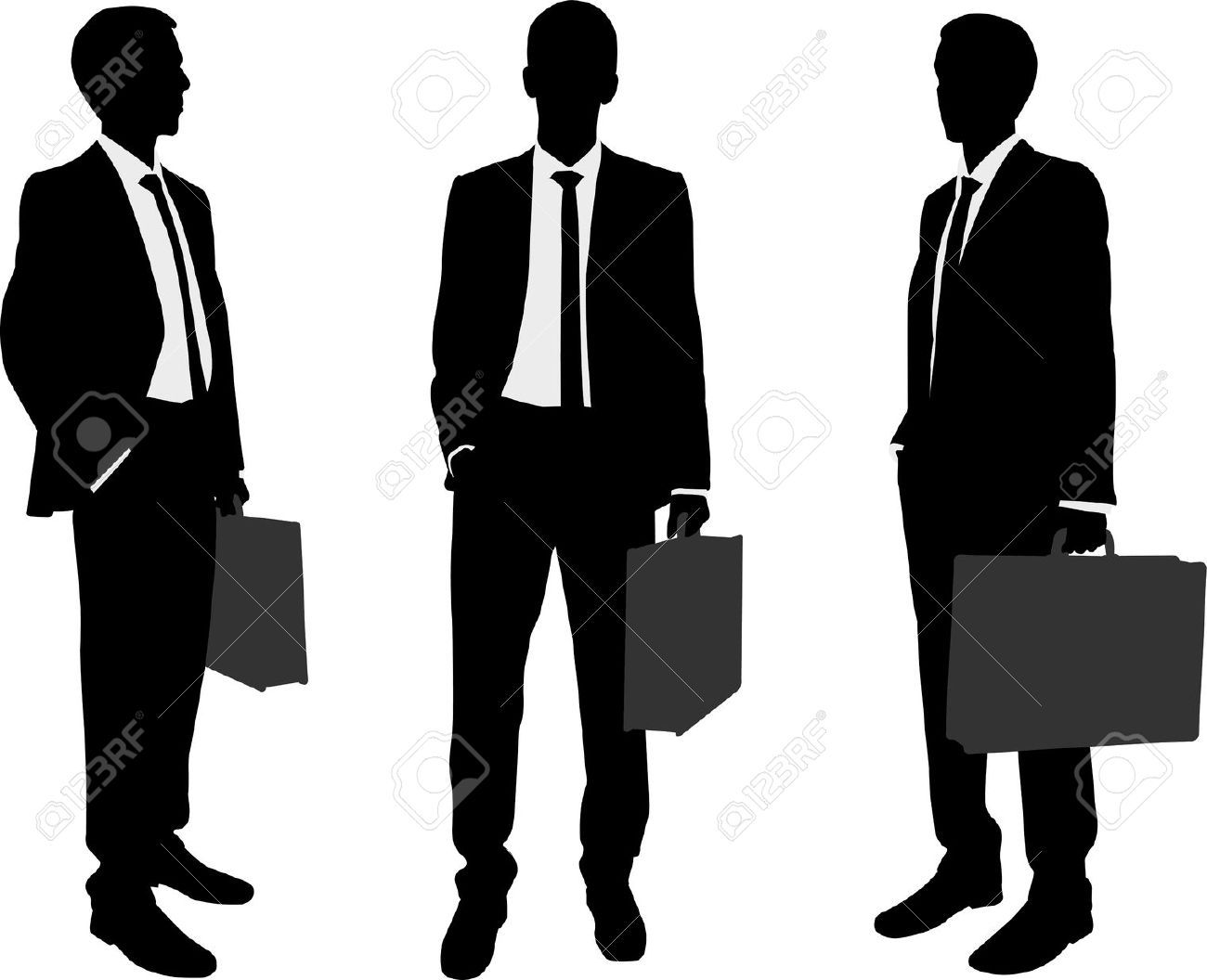 Businessman Holding Briefcase Silhouettes Stock