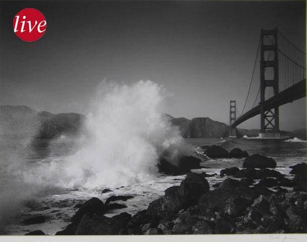 En vente le samedi 24 octobre 2015 par la Société Stéphanoise d'Enchères à Saint-Etienne :   Pirkle Jones ( 1914 – 2009) : « the Golden Gate» Photo originale montée sur carton fort, signée sur le carton par le photographe, Etiquette d'édition au dos, Cette photo est tiré du portfolio édité en 1955 pour le 10eme anniversaire de la fondation des Nations Unies à San Francisco Dim. 25,2 x 33,5 cm Rare, car remis uniquement aux délégations présentes.   Estimation : 1 200 € - 1 500 €