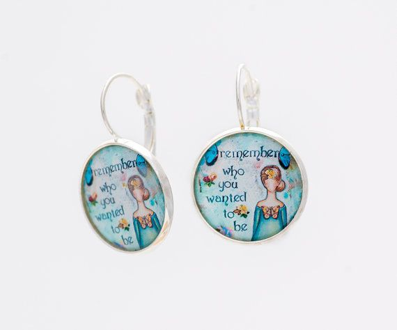 Art Earrings Whimsical Inspirational Blue Green Motivational Gift Encouragement Love Yourself