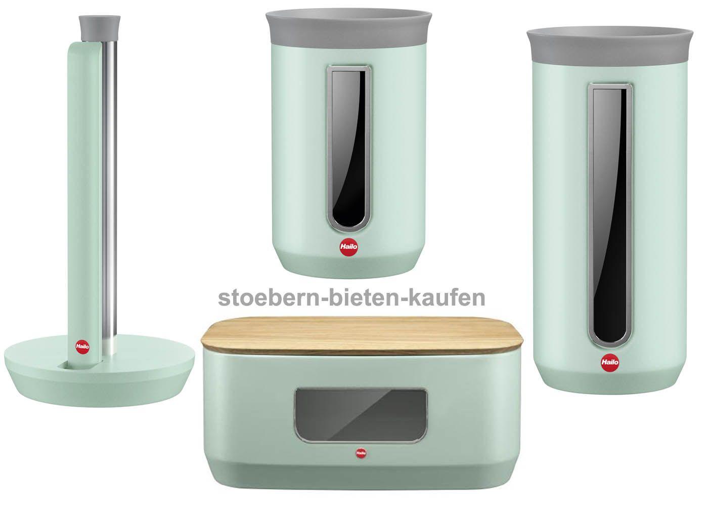 hailo kitchenline design k chenrollenhalter brotkasten eckig 2 vorratsdosen mint matt. Black Bedroom Furniture Sets. Home Design Ideas