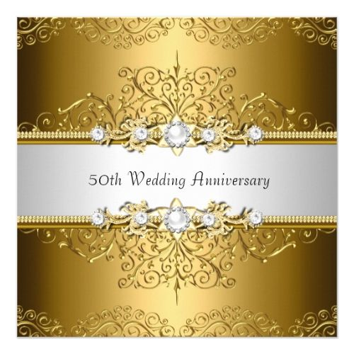 Floral swirl 50th wedding anniversary invite anniversary floral swirl 50th wedding anniversary invite stopboris Images