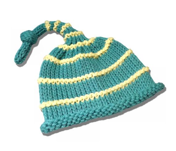 7b6b4239683 ... knitted new baby boy roll brim striped hat. aqua green and yellow.  photo prop