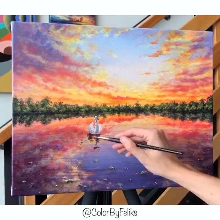 Photo of Step by Step Swans in the Lake Acrylic Painting Tutorial