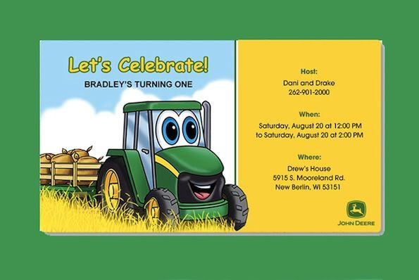 Send out our adorable John Deere Evite Invitation for your