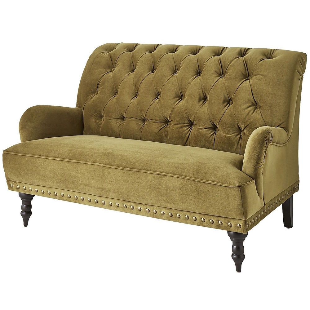 Green Velvet Olive Tufted Loveseat With Nailhead Trim Victorian Steampunk Sofa Couch