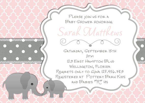 Elephant baby shower invitation baptism or christening pink gray elephant baby shower invitation baptism or christening pink gray trefoil invite filmwisefo