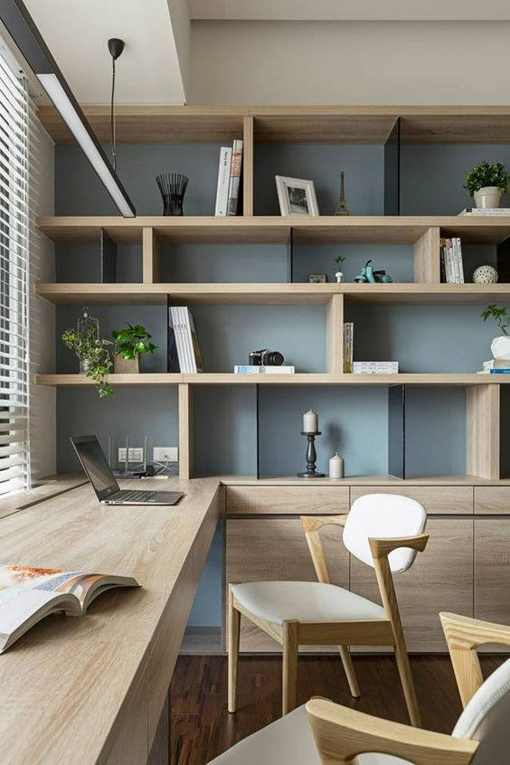 Marvelous Home Office Room Design Ideas Part - 1: Nice Idea For My Office. Possibly Add Shelving That Goes Up The Left Side-  · Office Space DesignStudy Interior DesignHome ...