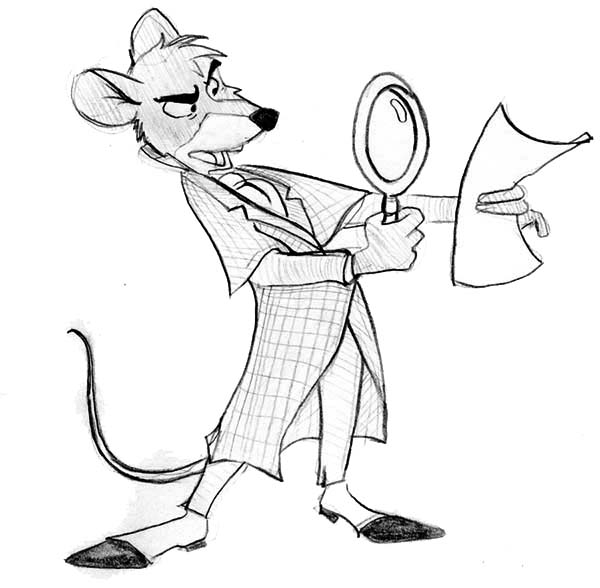 Basil Examine A Piece Of Paper In The Great Mouse Detective Coloring Page Coloring Sun The Great Mouse Detective Coloring Pages Children Sketch