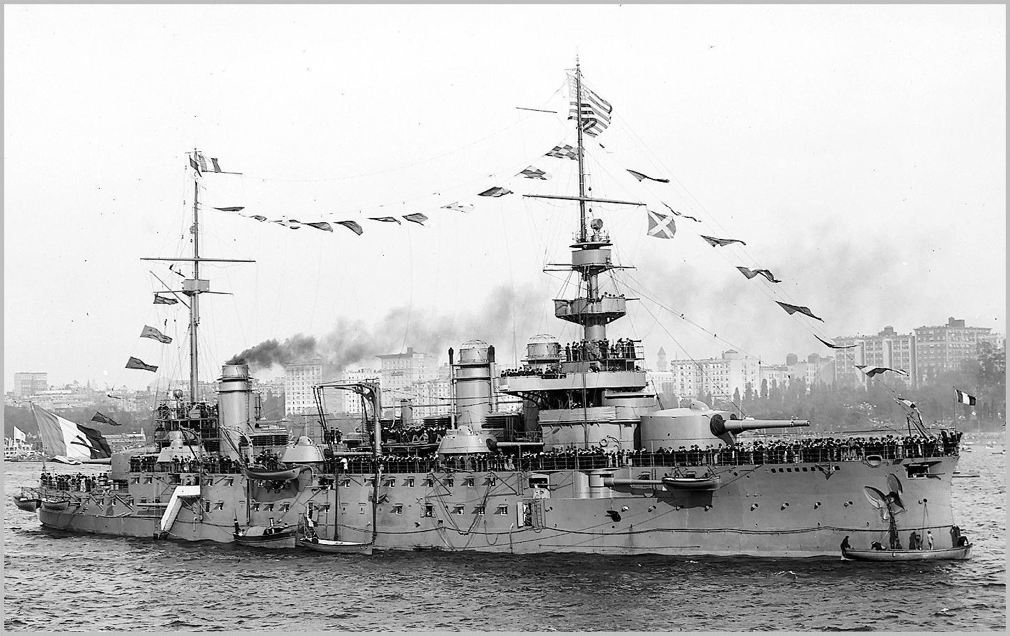 French predreadnought battleship Justice on the Hudson River in 1909.