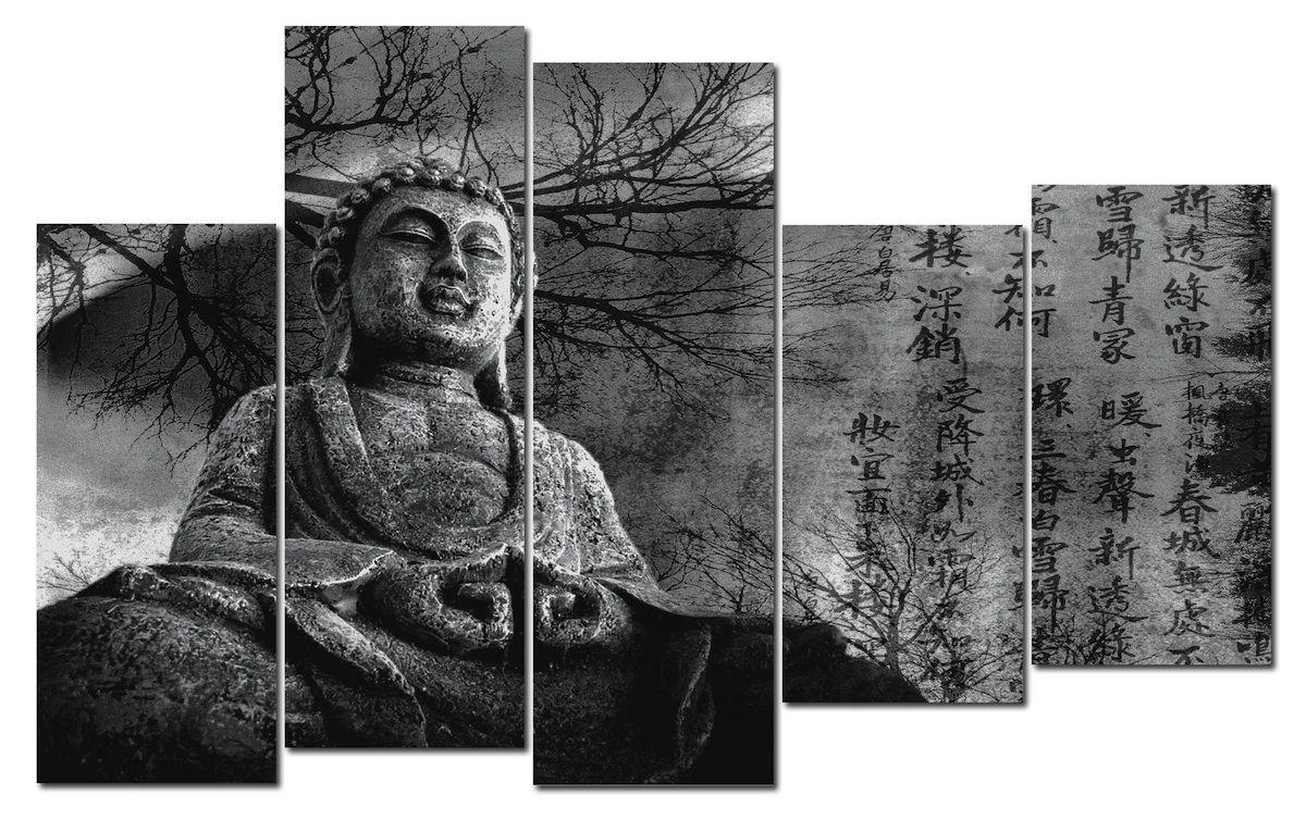 Cuadro de buda fondo con letras chinas blanco y negro - Cuadros estilo zen ...
