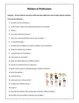 Métiers et professions puzzles, worksheet in French | French ...