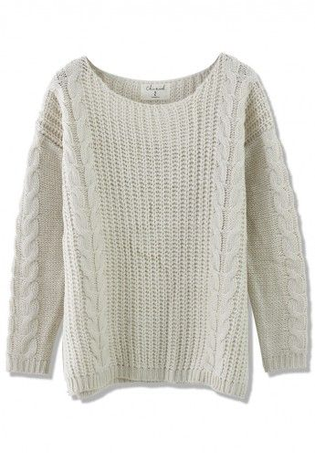 Classic Cable Knit Sweater in Off-white | Style | Pinterest ...