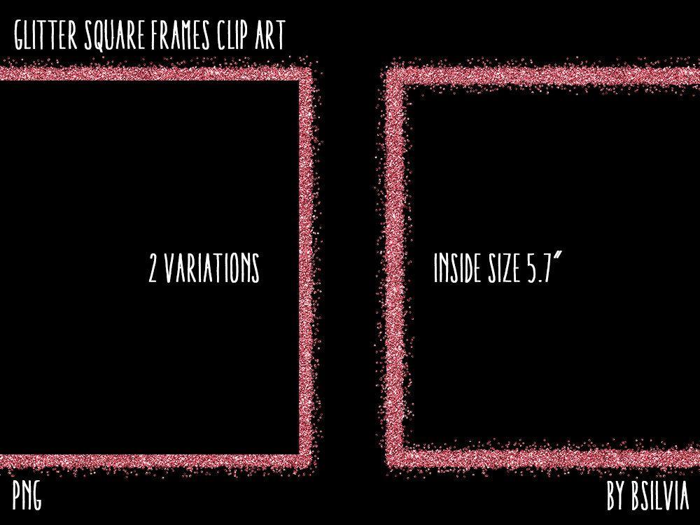 Glitter Square Frames Clipart Transparent Png Gold Glitter Etsy Clip Art Frame Clipart Square Frames