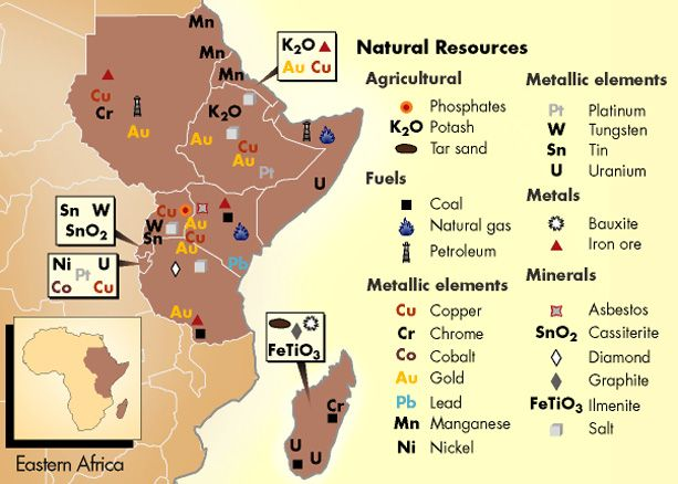 Resource Map Africa.Map Of Africa Resources