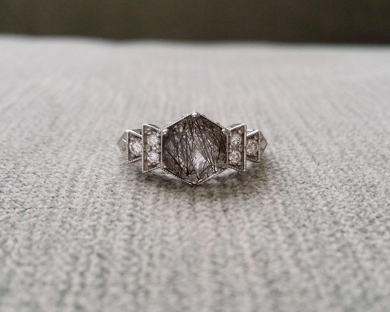 Antique Diamond Rutilated Quartz Engagement Ring White Gold 1920s Grey  Black Gemstone Rustic Bohemian Penellibelle Exclusive