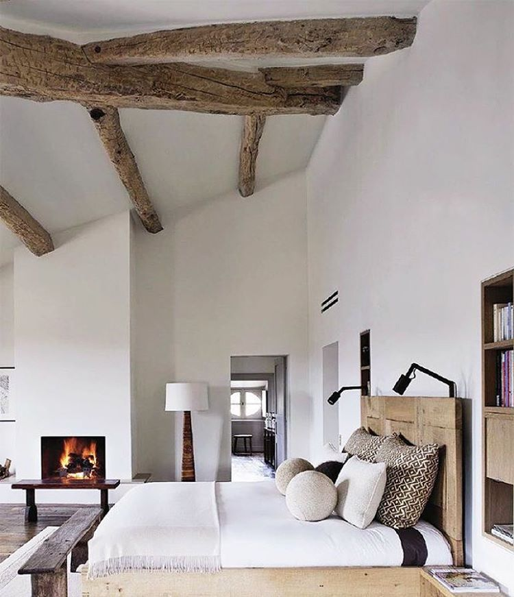 """Exposed timber against white always a winner. #bedroomdecor #bedroom #design #decor #exposedbeams #timber #rustic #inspo #interiors #boho #scandinavian …"""