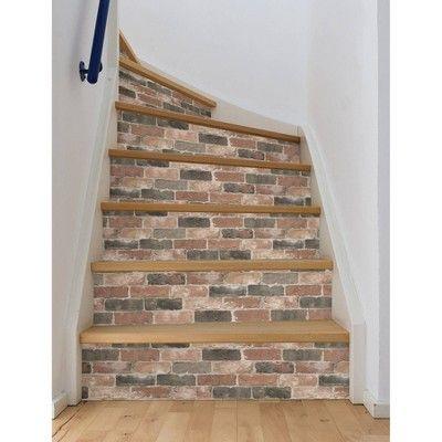 Nuwallpaper Newport Reclaimed Brick Peel Stick Wallpaper Craftsmen Brown In 2021 Rustic Stairs Diy Staircase Staircase Makeover
