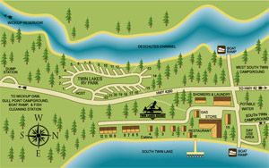 Lakefront cabins and riverside RV park Twin Lakes resort
