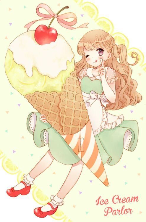 レモンのアイスクリームと女の子