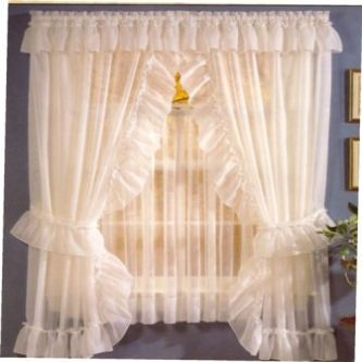 Sheer Priscilla Panel Pair With Attached Valance Priscilla