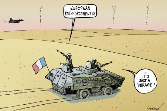 France Alone in Mali - Chappatte