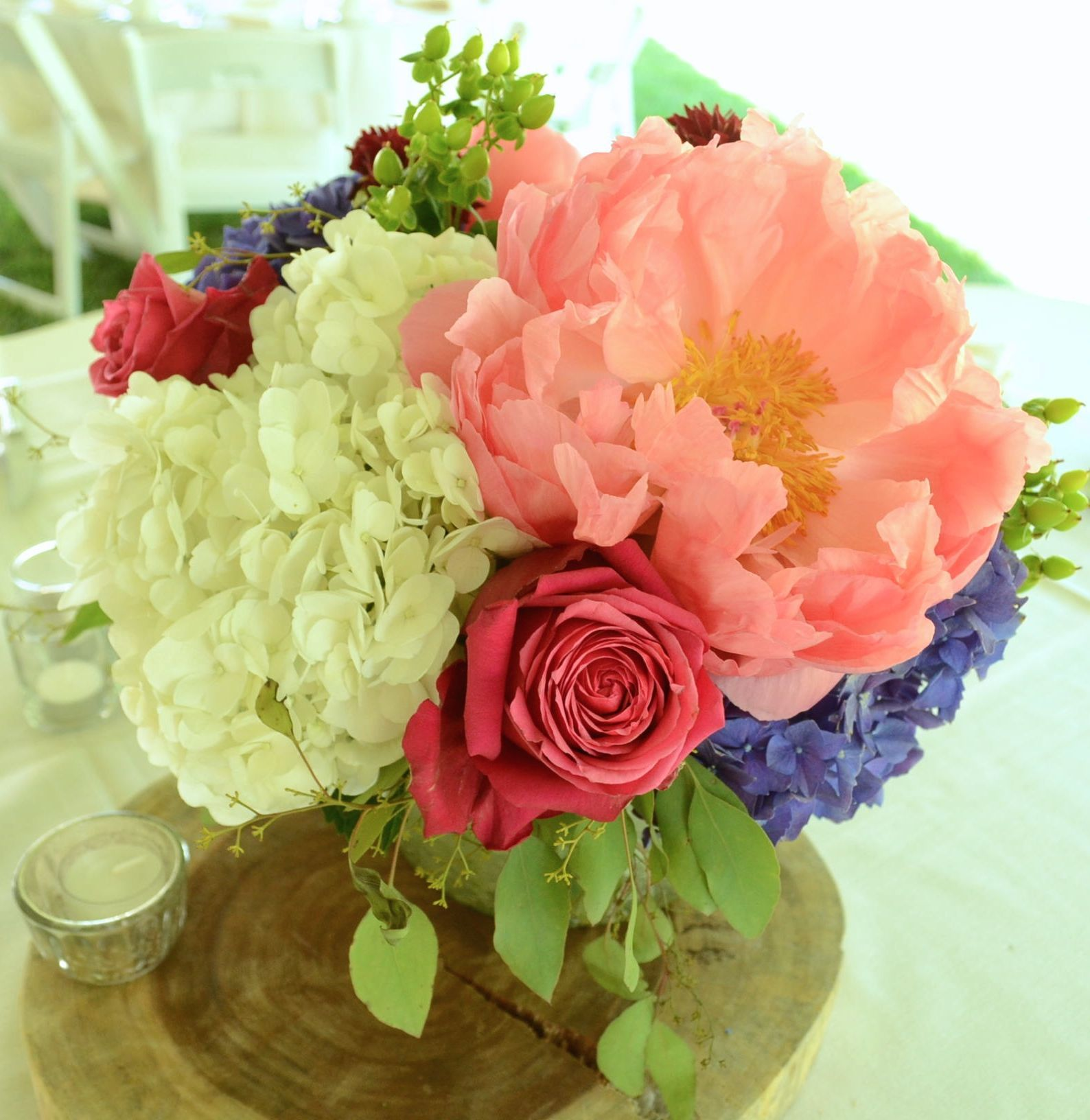 8 Inch Mercury Glass Silver Cylinder Coral Charm Peonies Purple Hydrangea Cherry O Roses White Hydrang Hydrangea Purple Coral Charm Peony White Hydrangea