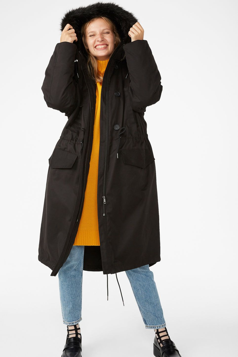 db9027bc2693 Monki padded parka coat in black - A long black padded parka coat with  ribbed cuffs