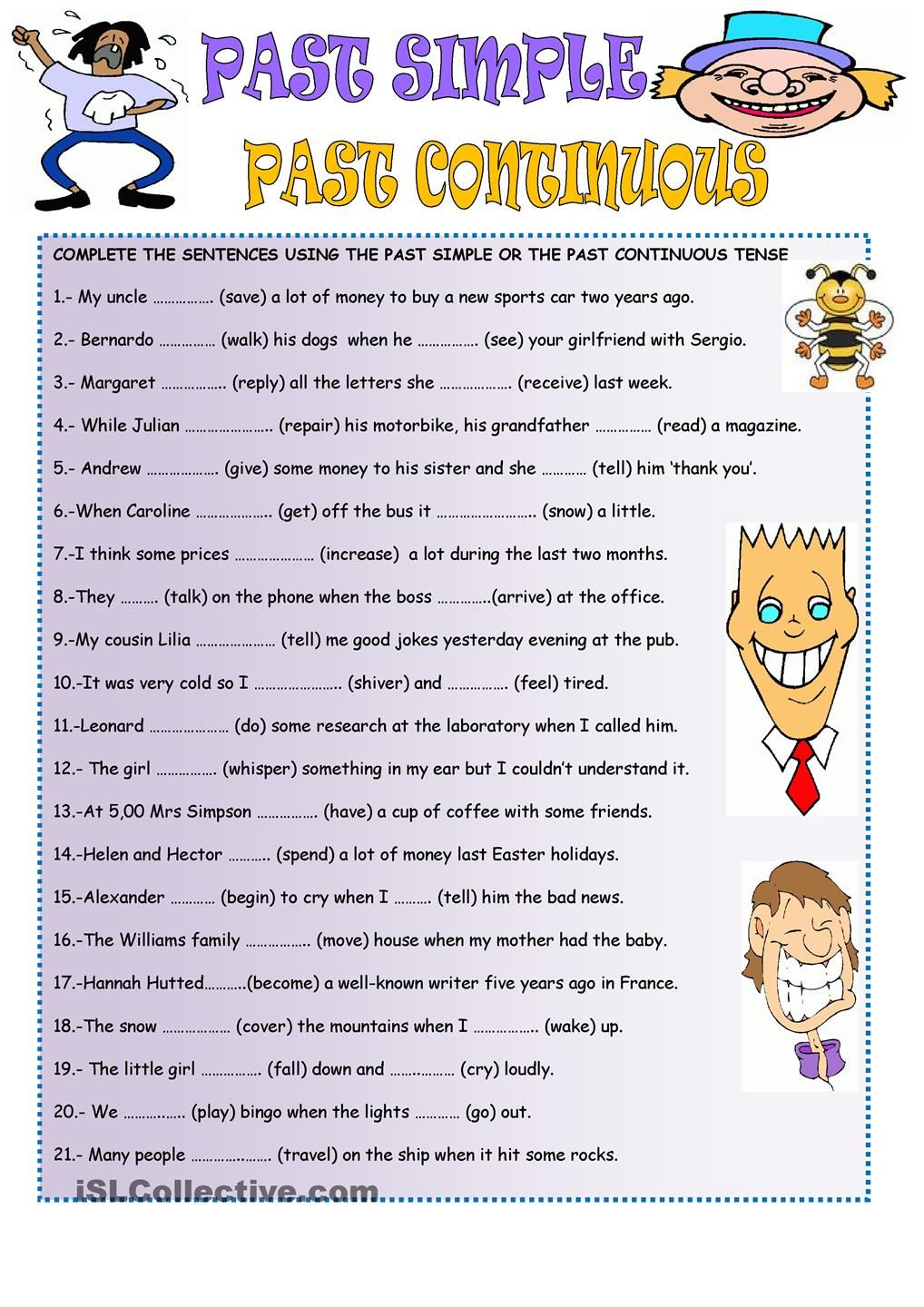 Past Simple And Past Continuous Simple Past Tense English Grammar Grammar Worksheets