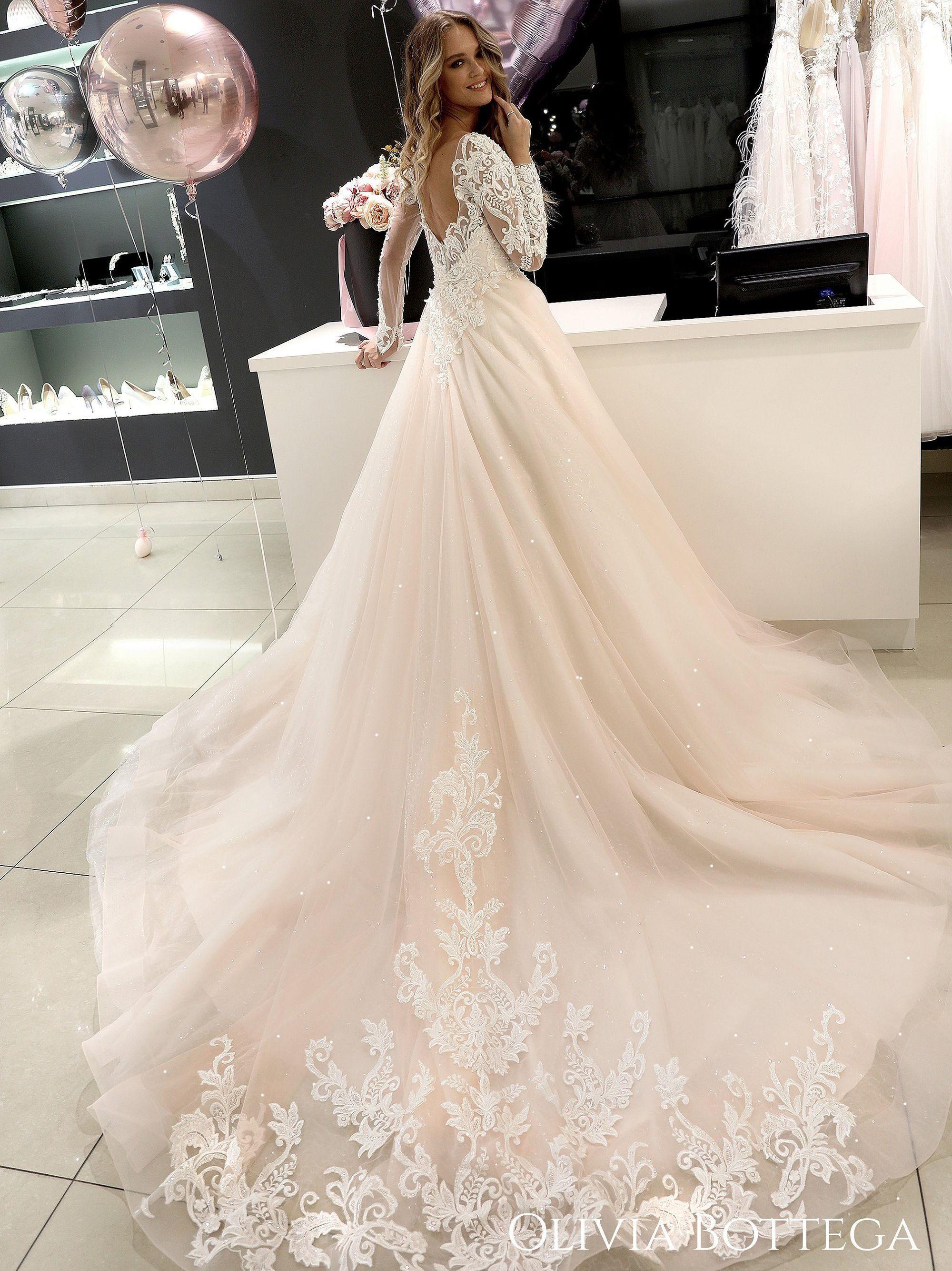 Long sleeve wedding dress Ivis by Olivia Bottega. Open back. | Etsy