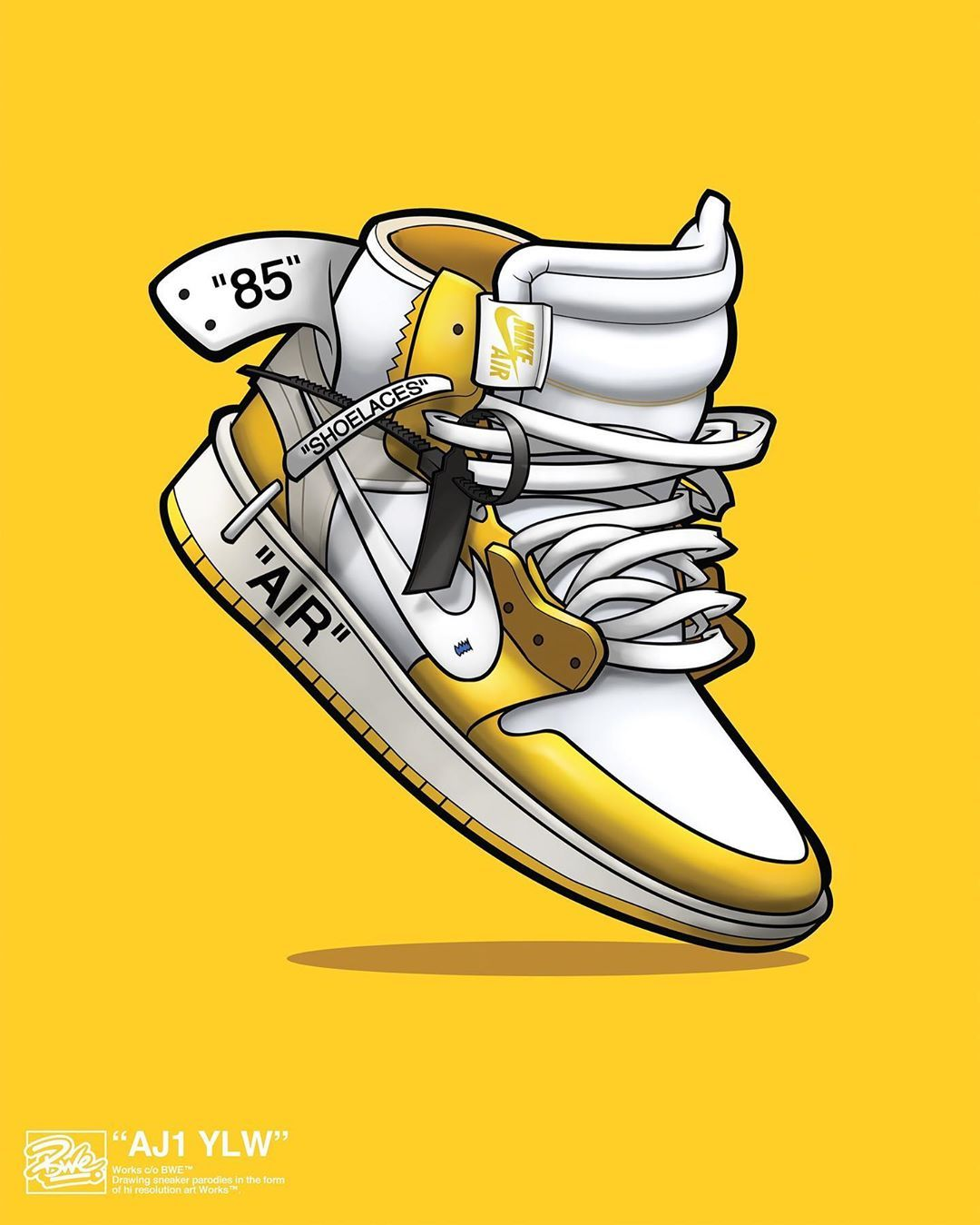 Bwe On Instagram Bwe Illustrated Off White X Air Jordan 1 Yellow Poster Available Exclusively Through Egotrips Store Sneaker Posters Sneaker Art Nike Art