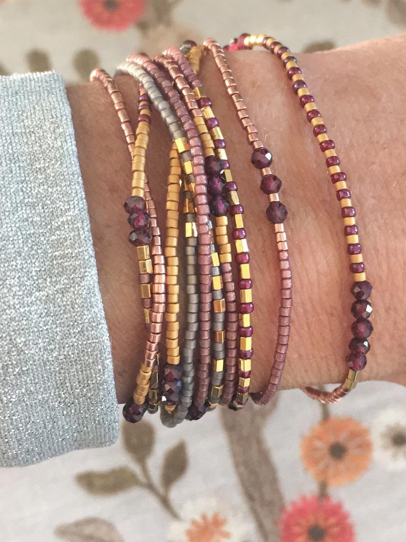 Boho armbander mit Granat Edelstein und seed beads   Etsy