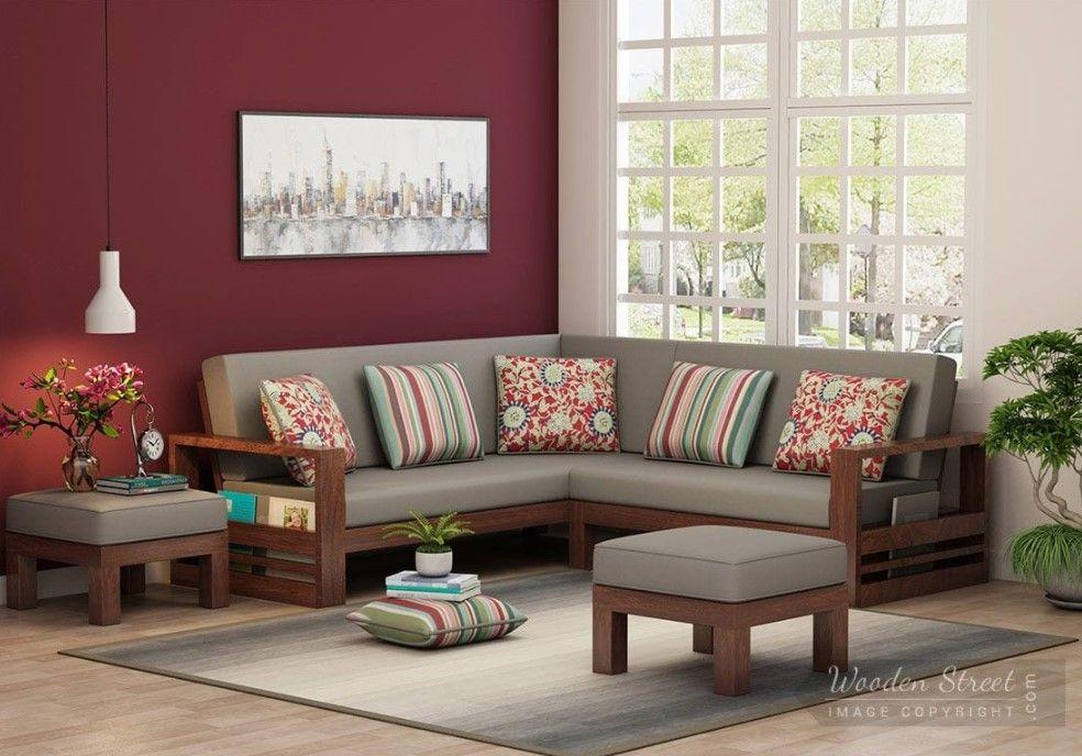Buy Winster L Shaped Wooden Sofa Warm Grey Walnut Finish Online