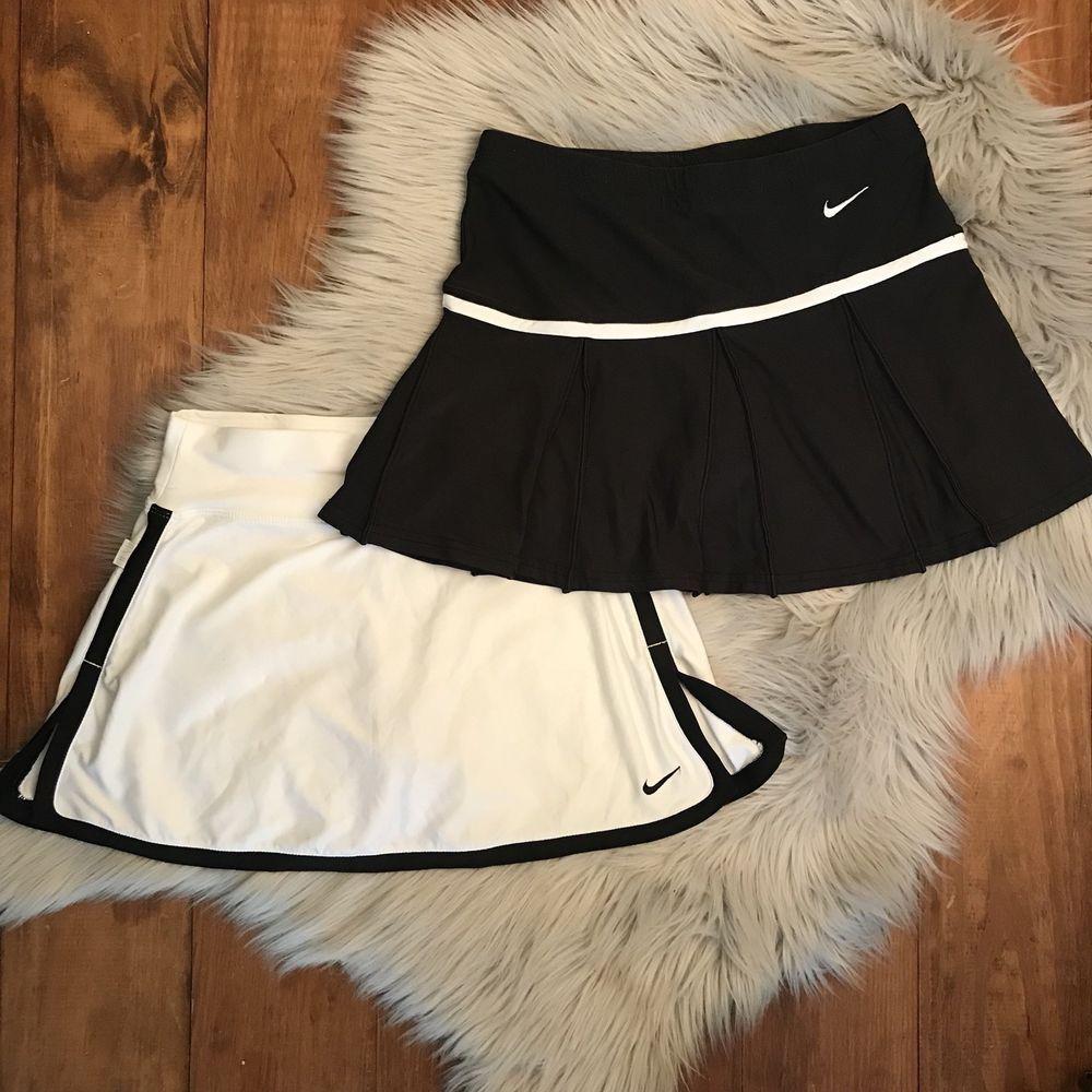 Nike Dri Fit Tennis Skirt Skort Lot Of 2 Black White