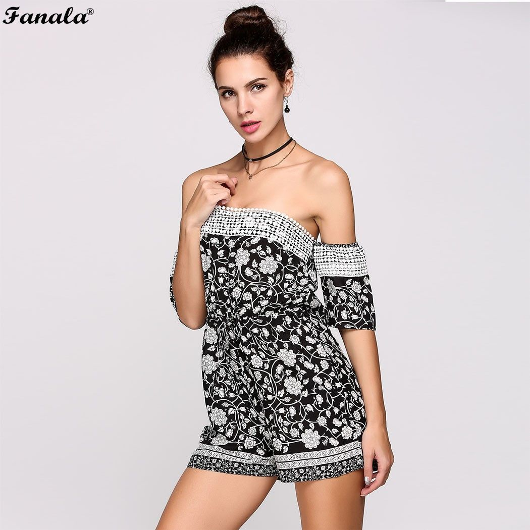 765984ac46 Dazzle the night with mini romper. The off shoulder design has an added  feminine touch of lace