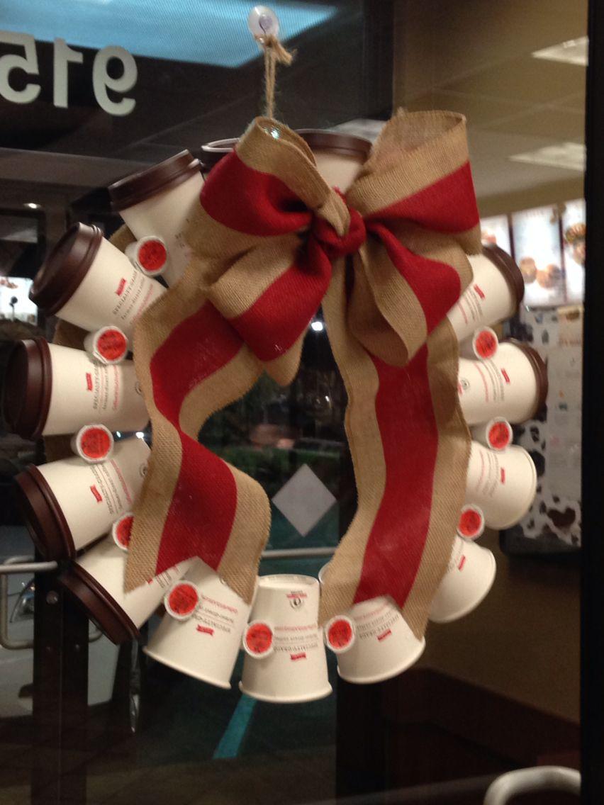 Coffee Cup Wreath Holiday Decor Christmas Christmas Wreaths Diy Shop Decoration