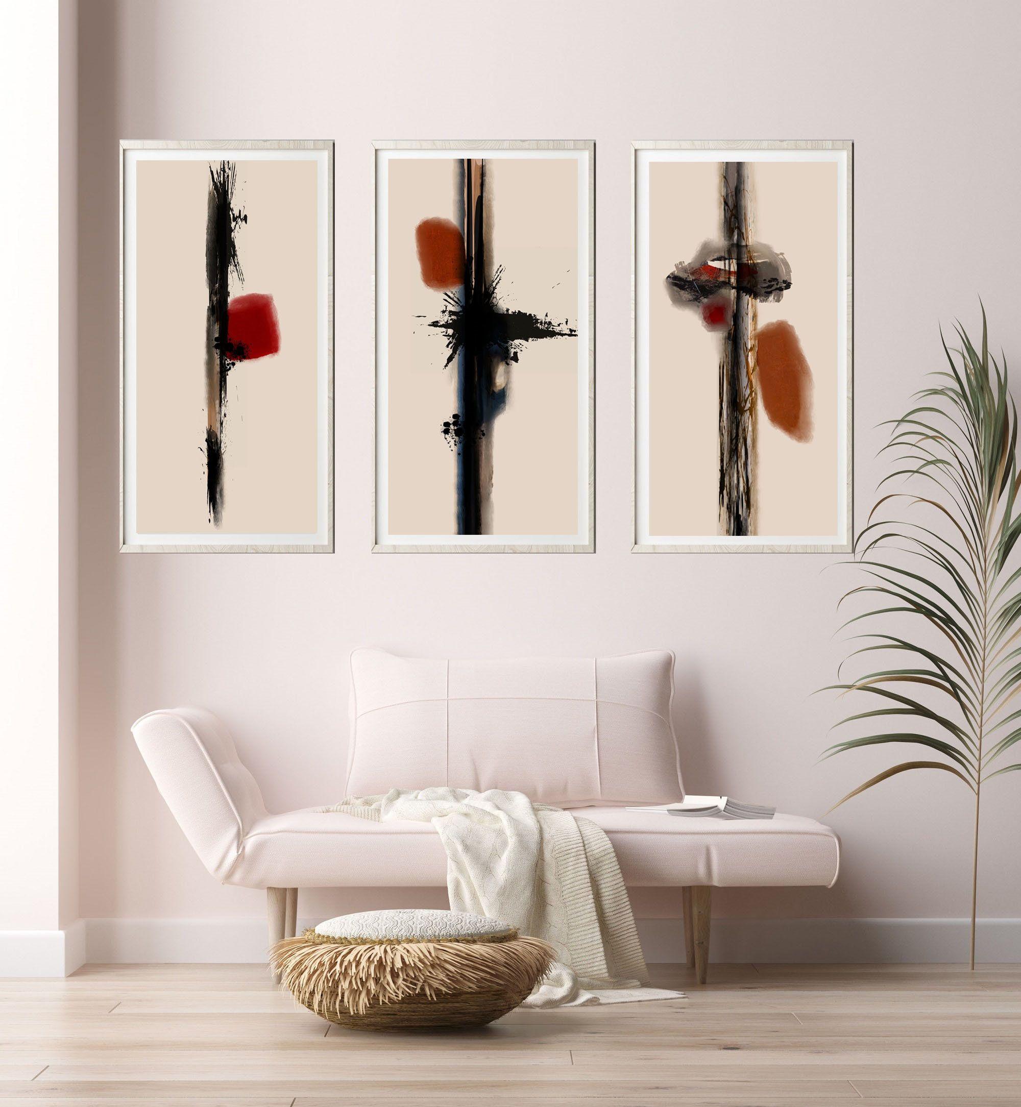 Minimalist Japanese Style Abstract Set Of 3 Prints Modern Etsy In 2021 Japanese Art Modern Minimalist Modern Art Minimalist Prints