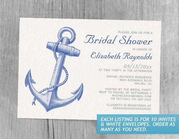 Anchor Bridal Shower Invitations