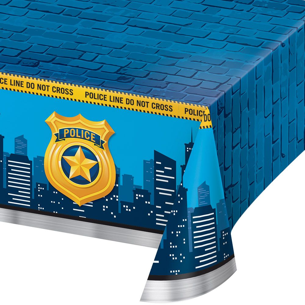 Police Plastic Tablecover Tablecloth Decoration Retirement Birthday Party Event