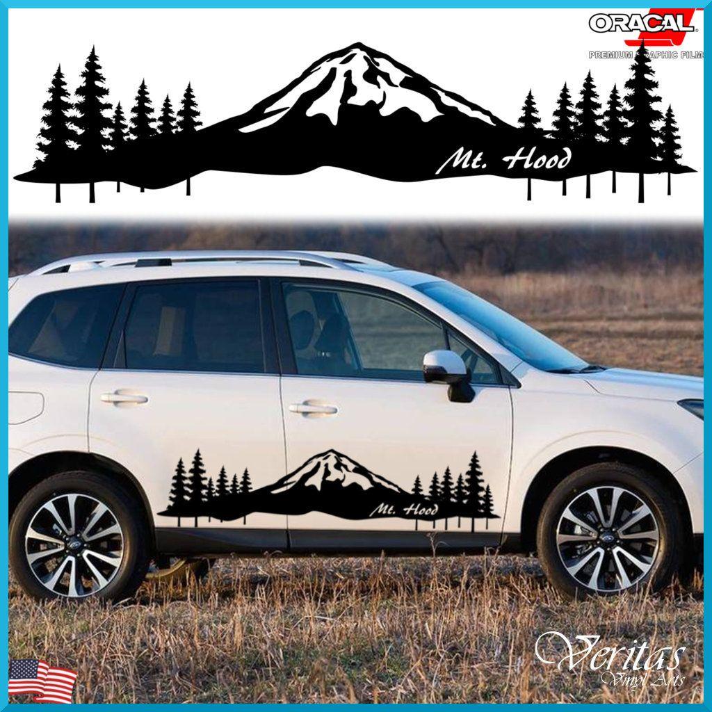 Set of 2 Mountain Scene Decal Tree Vinyl Graphic Sticker Camper RV Trailer Truck