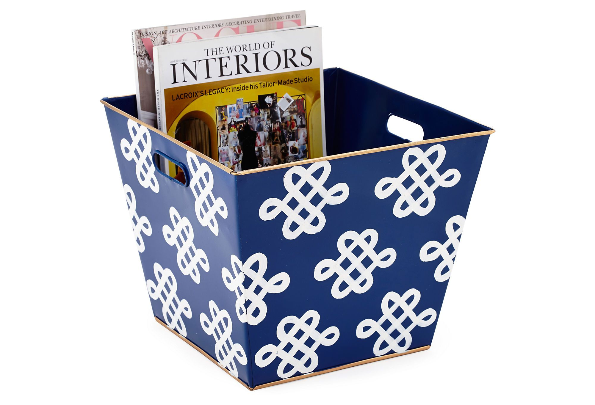 One Kings Lane - Get It Together - Magazine Bin, Love Knots Navy