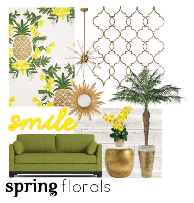 """""""Pineapple paradise"""" by callyfordham ❤ liked on Polyvore featuring interior, interiors, interior design, home, home decor, interior decorating, Rifle Paper Co, Wall Pops!, Arteriors and Jonathan Charles Fine Furniture"""