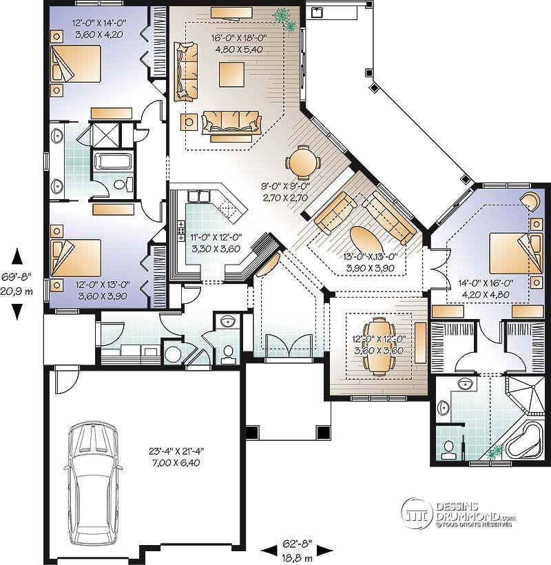 Détail du plan de Maison unifamiliale W3258 Plan Pinterest