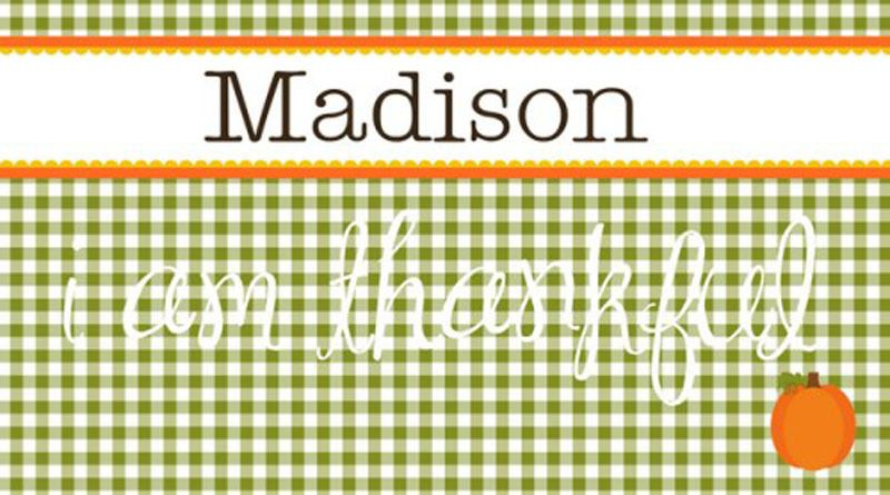 """Sweet Mady's """"Gingham"""" Personalized Placemat"""