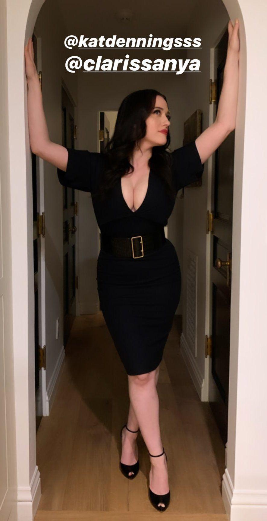 Kat Dennings Fashion Peplum Dress Black Dress [ 1723 x 886 Pixel ]