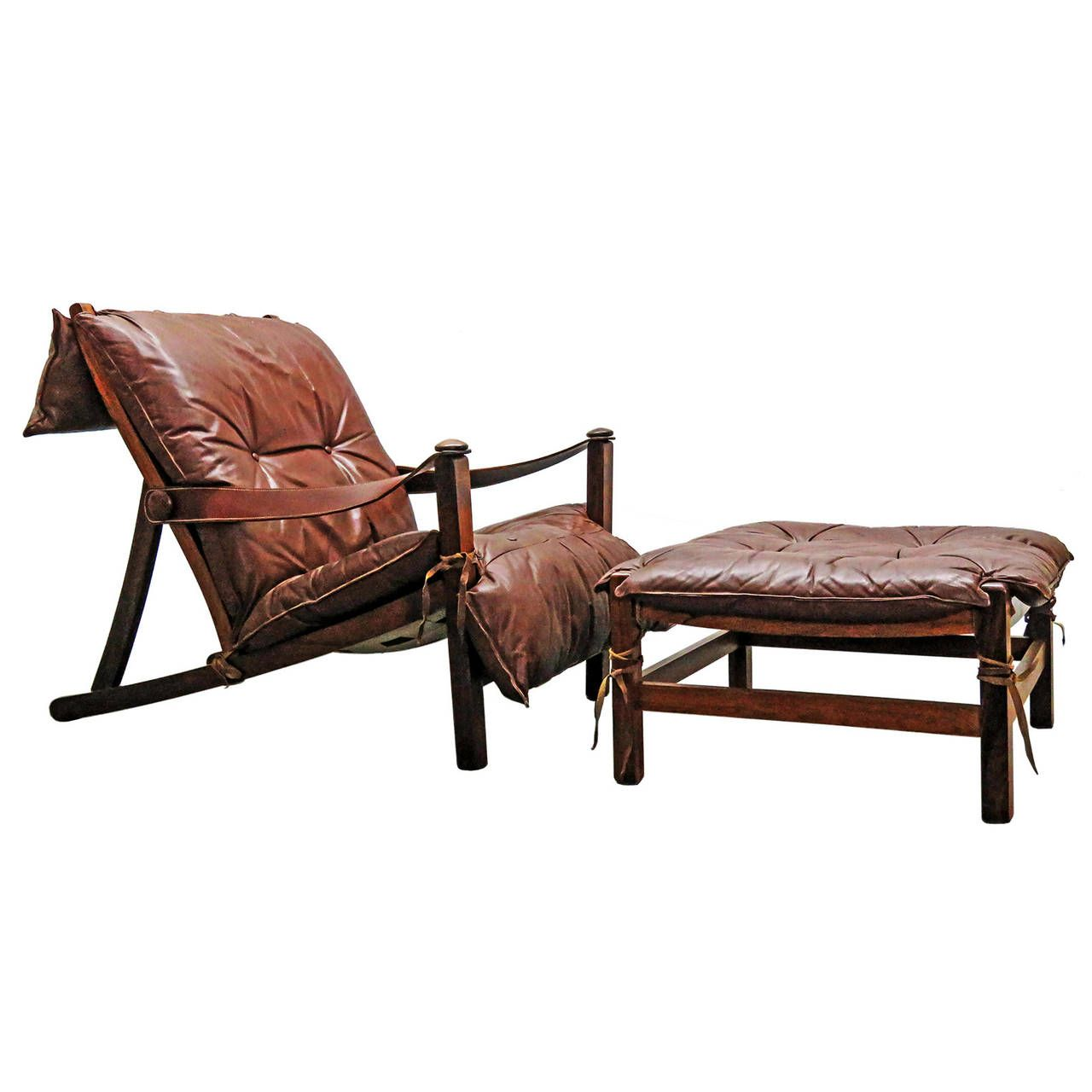 Danish Rosewood Lounge Chair with Ottoman From a unique